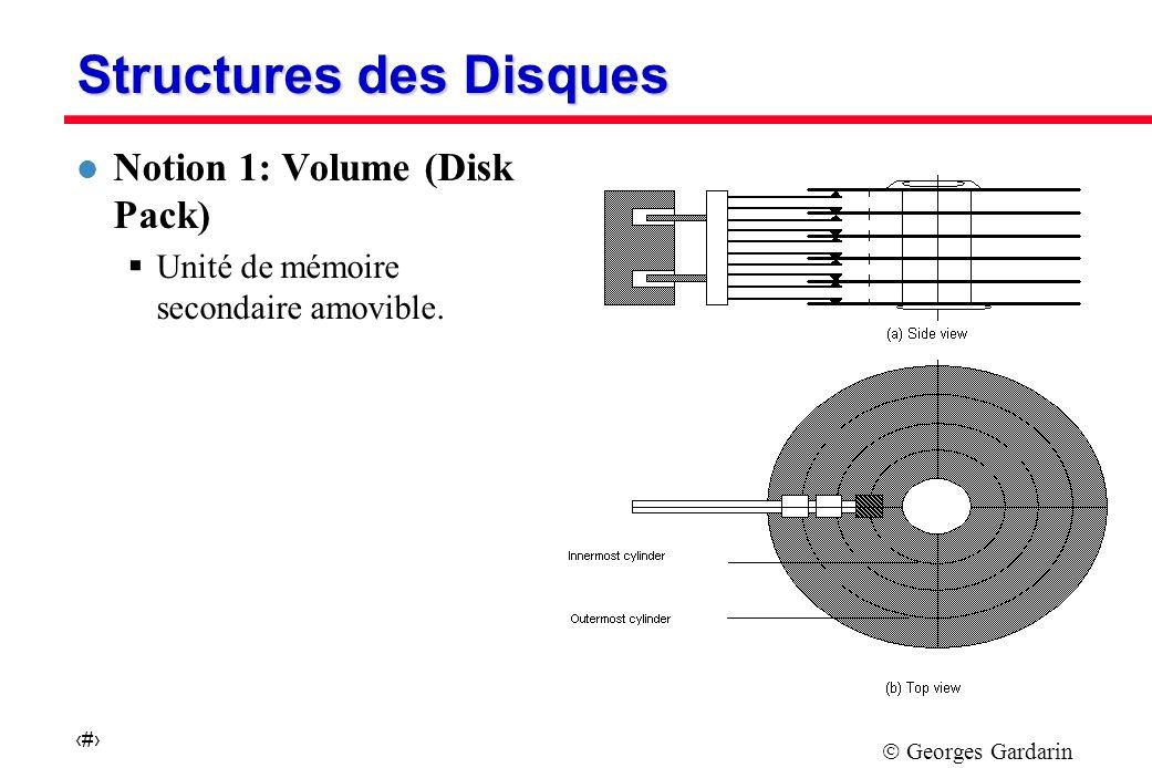 Georges Gardarin 3 Structures des Disques l Notion 1: Volume (Disk Pack) Unité de mémoire secondaire amovible.