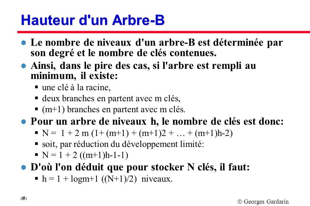 Georges Gardarin 43 Hauteur d un Arbre-B l Le nombre de niveaux d un arbre-B est déterminée par son degré et le nombre de clés contenues.