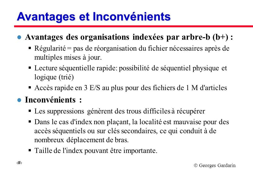 Georges Gardarin 46 Avantages et Inconvénients l Avantages des organisations indexées par arbre-b (b+) : Régularité = pas de réorganisation du fichier nécessaires après de multiples mises à jour.