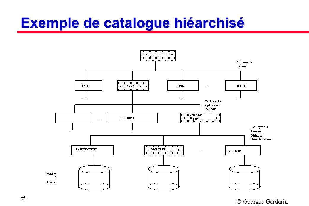 Georges Gardarin 9 Exemple de catalogue hiéarchisé