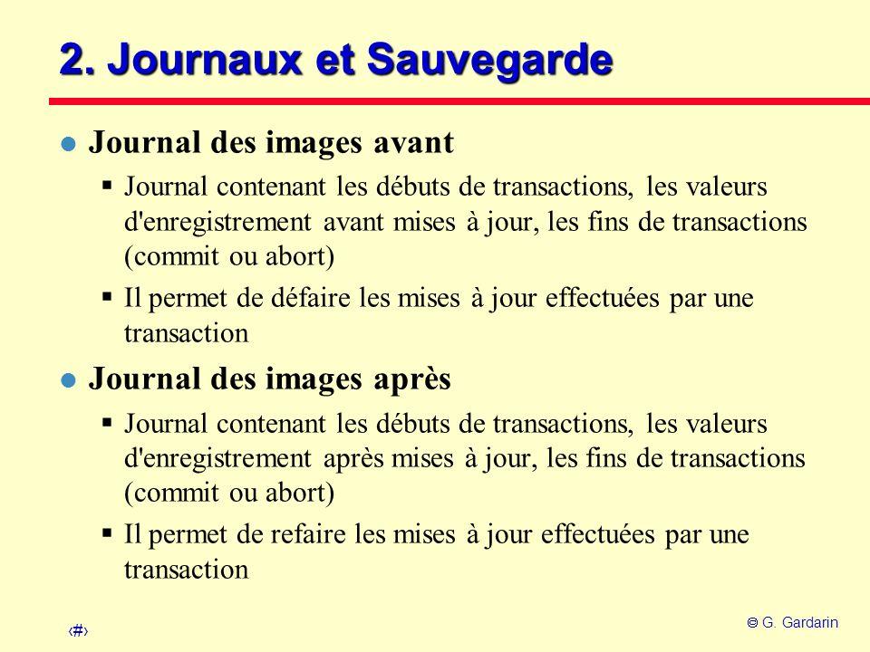 12 G. Gardarin 2. Journaux et Sauvegarde l Journal des images avant Journal contenant les débuts de transactions, les valeurs d'enregistrement avant m