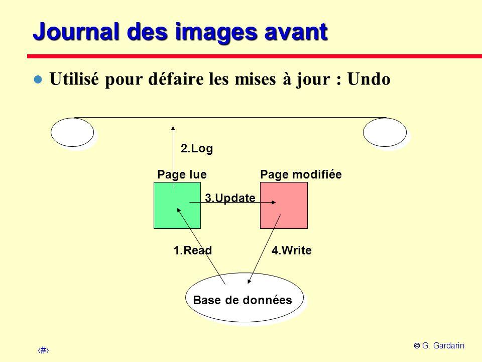 13 G. Gardarin Page lue Base de données Page modifiée 1.Read 3.Update 4.Write 2.Log Journal des images avant l Utilisé pour défaire les mises à jour :