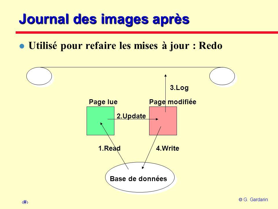 14 G. Gardarin Journal des images après Page lue Base de données Page modifiée 1.Read 2.Update 4.Write 3.Log l Utilisé pour refaire les mises à jour :