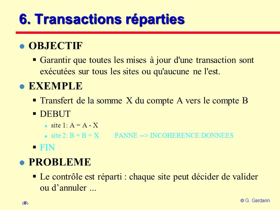 30 G. Gardarin 6. Transactions réparties l OBJECTIF Garantir que toutes les mises à jour d'une transaction sont exécutées sur tous les sites ou qu'auc