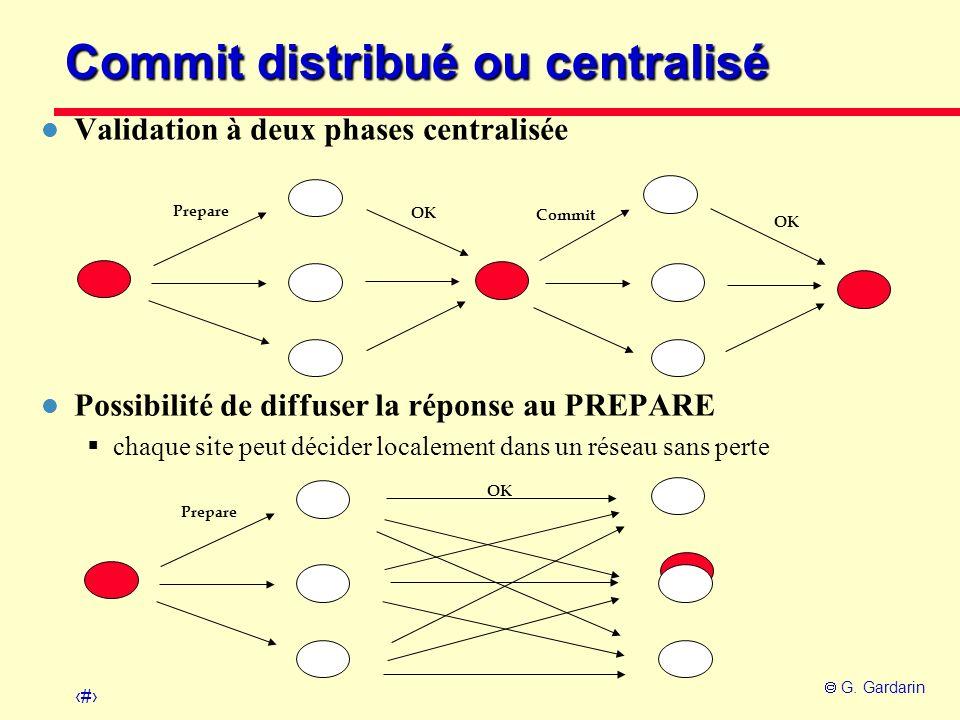36 G. Gardarin Prepare OK Commit Prepare OK Commit distribué ou centralisé l Validation à deux phases centralisée l Possibilité de diffuser la réponse