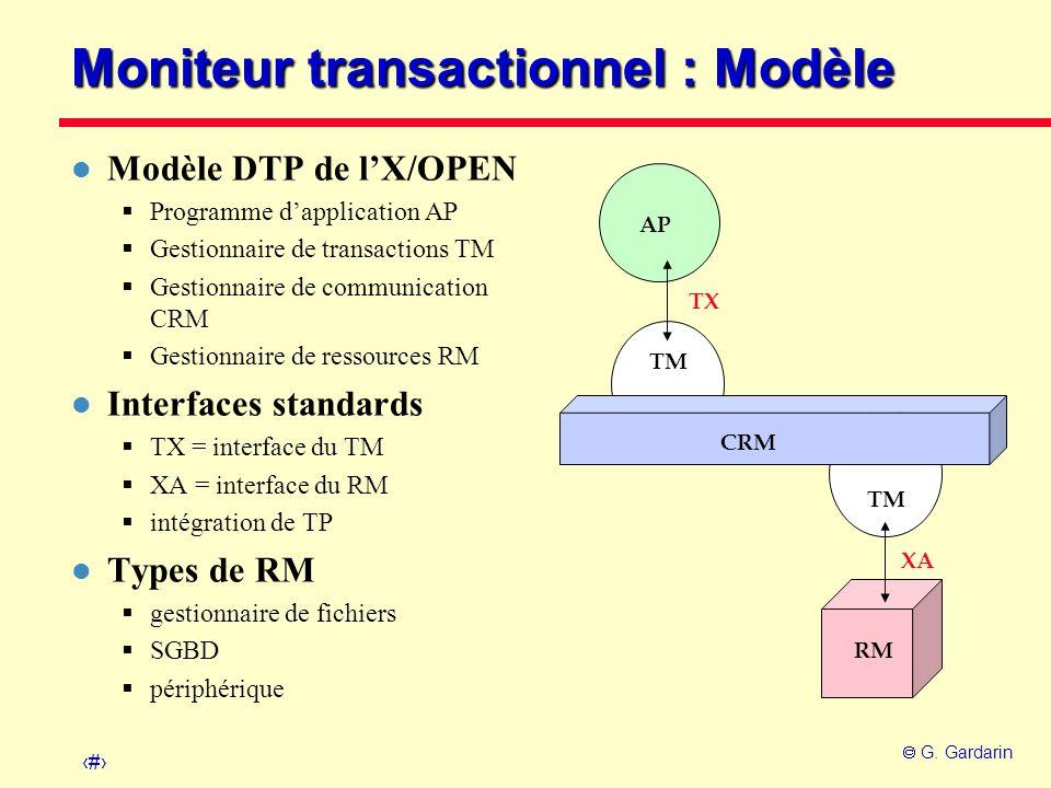 42 G. Gardarin TM CRM AP RM TX XA Moniteur transactionnel : Modèle l Modèle DTP de lX/OPEN Programme dapplication AP Gestionnaire de transactions TM G