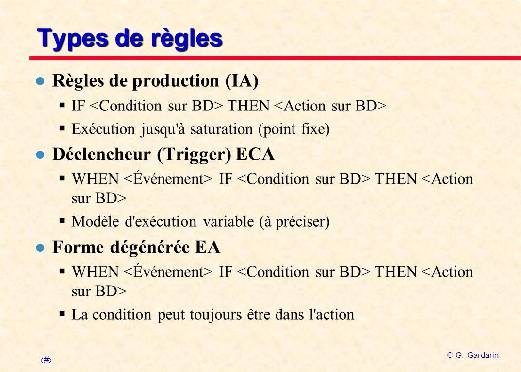 18 G. Gardarin Types de règles l Règles de production (IA) IF THEN Exécution jusqu'à saturation (point fixe) l Déclencheur (Trigger) ECA WHEN IF THEN