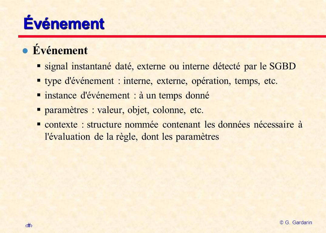 19 G. Gardarin Événement l Événement signal instantané daté, externe ou interne détecté par le SGBD type d'événement : interne, externe, opération, te