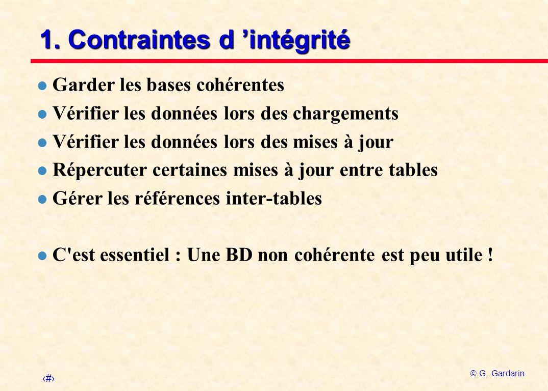 2 G. Gardarin 1. Contraintes d intégrité l Garder les bases cohérentes l Vérifier les données lors des chargements l Vérifier les données lors des mis