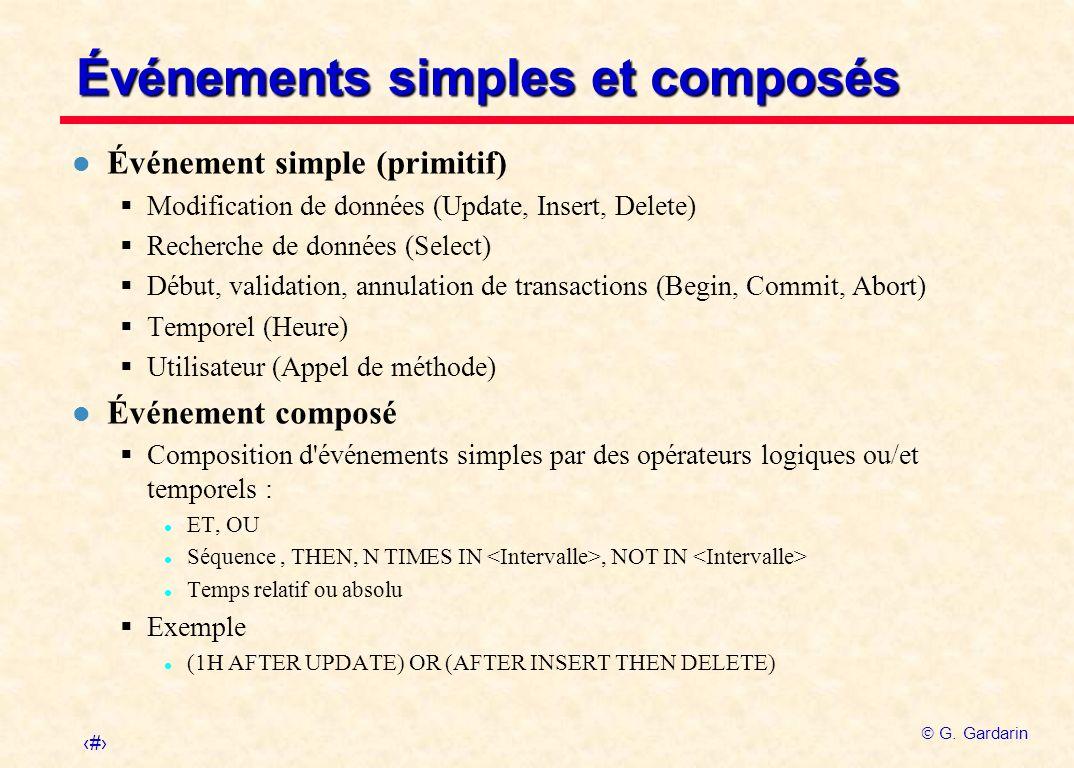 21 G. Gardarin Événements simples et composés l Événement simple (primitif) Modification de données (Update, Insert, Delete) Recherche de données (Sel