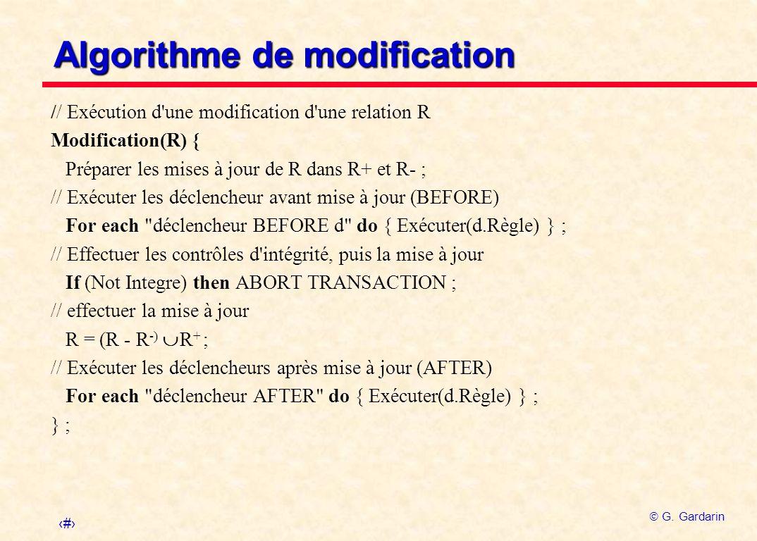 32 G. Gardarin Algorithme de modification // Exécution d'une modification d'une relation R Modification(R) { Préparer les mises à jour de R dans R+ et