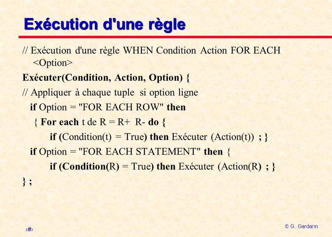 33 G. Gardarin Exécution d'une règle // Exécution d'une règle WHEN Condition Action FOR EACH Exécuter(Condition, Action, Option) { // Appliquer à chaq