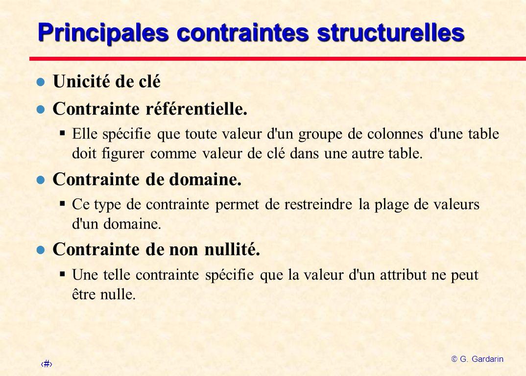 4 G. Gardarin Principales contraintes structurelles l Unicité de clé l Contrainte référentielle. Elle spécifie que toute valeur d'un groupe de colonne