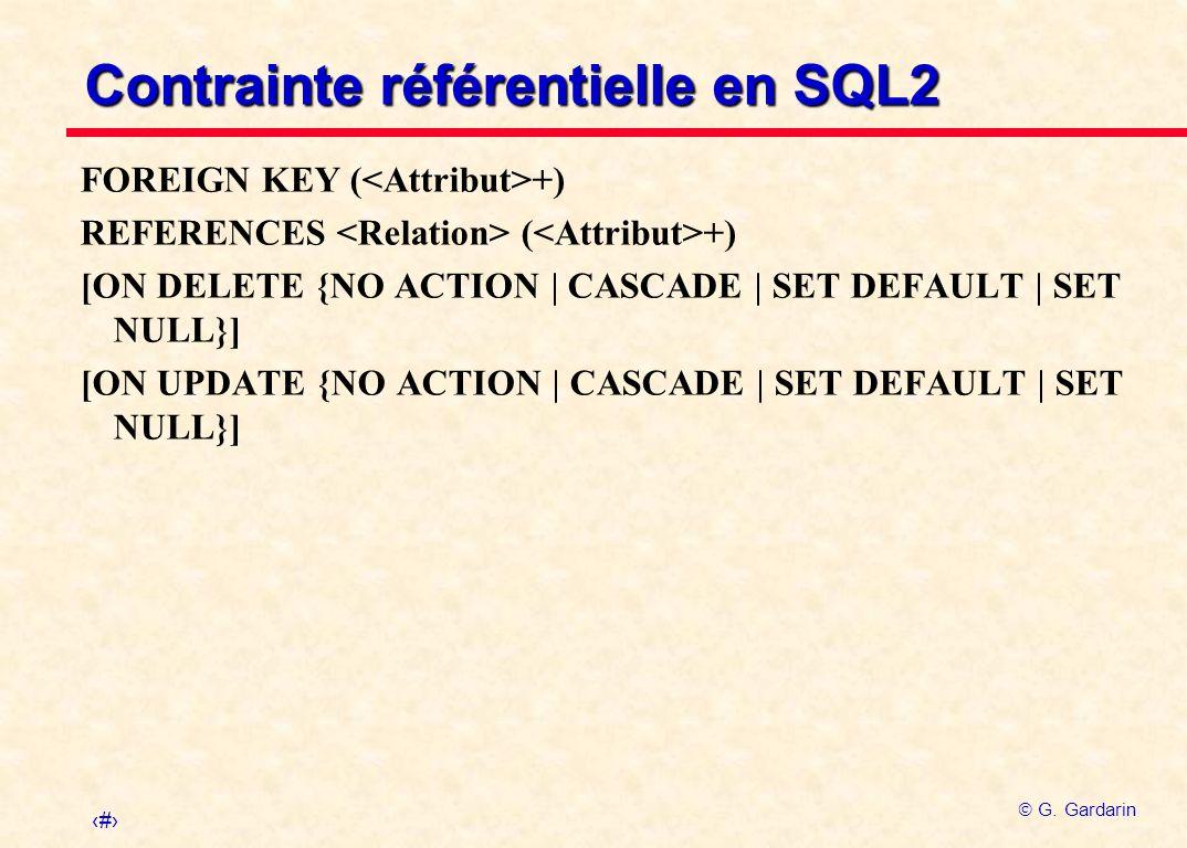 9 G. Gardarin Contrainte référentielle en SQL2 FOREIGN KEY ( +) REFERENCES ( +) [ON DELETE {NO ACTION | CASCADE | SET DEFAULT | SET NULL}] [ON UPDATE