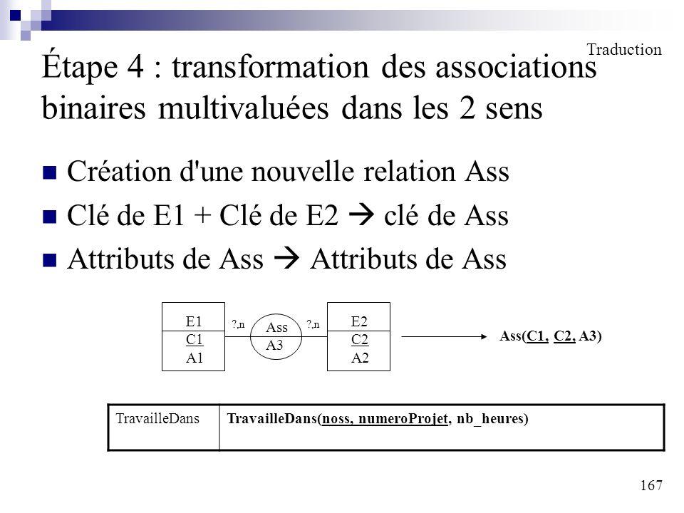 167 Étape 4 : transformation des associations binaires multivaluées dans les 2 sens Création d'une nouvelle relation Ass Clé de E1 + Clé de E2 clé de