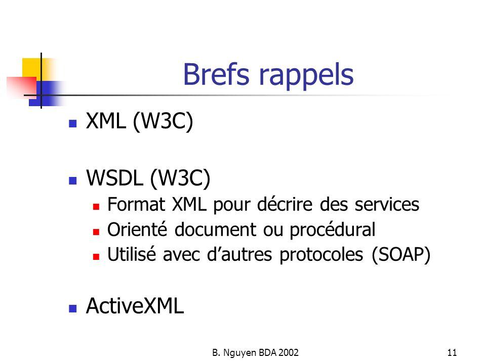 B. Nguyen BDA 200211 Brefs rappels XML (W3C) WSDL (W3C) Format XML pour décrire des services Orienté document ou procédural Utilisé avec dautres proto