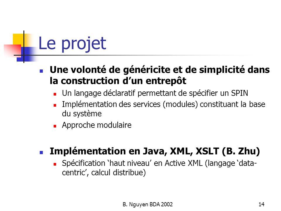 B. Nguyen BDA 200214 Le projet Une volonté de généricite et de simplicité dans la construction dun entrepôt Un langage déclaratif permettant de spécif