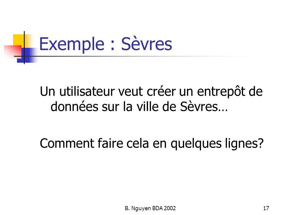 B. Nguyen BDA 200217 Exemple : Sèvres Un utilisateur veut créer un entrepôt de données sur la ville de Sèvres… Comment faire cela en quelques lignes?