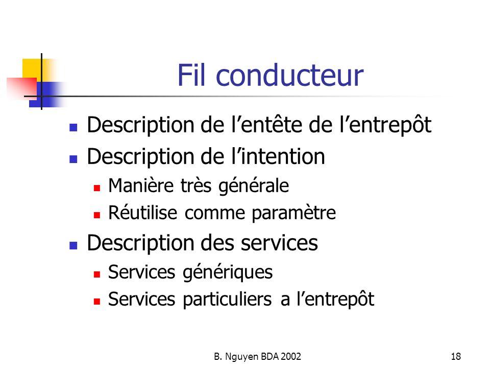 B. Nguyen BDA 200218 Fil conducteur Description de lentête de lentrepôt Description de lintention Manière très générale Réutilise comme paramètre Desc
