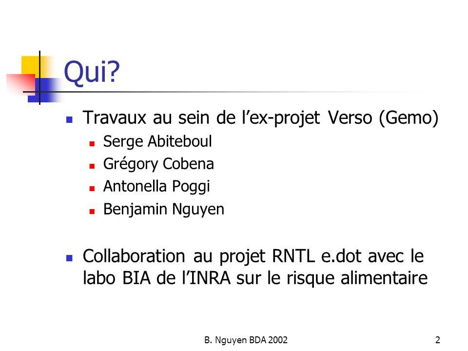 B. Nguyen BDA 20022 Qui? Travaux au sein de lex-projet Verso (Gemo) Serge Abiteboul Grégory Cobena Antonella Poggi Benjamin Nguyen Collaboration au pr
