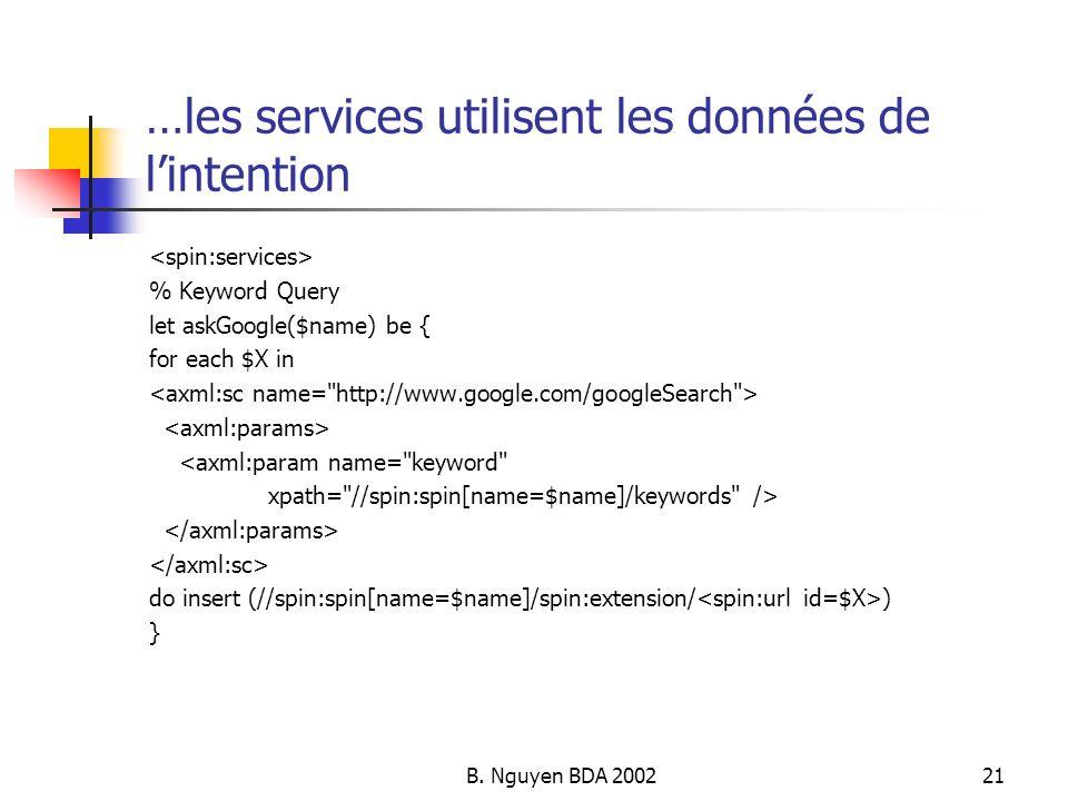B. Nguyen BDA 200221 …les services utilisent les données de lintention % Keyword Query let askGoogle($name) be { for each $X in <axml:param name=