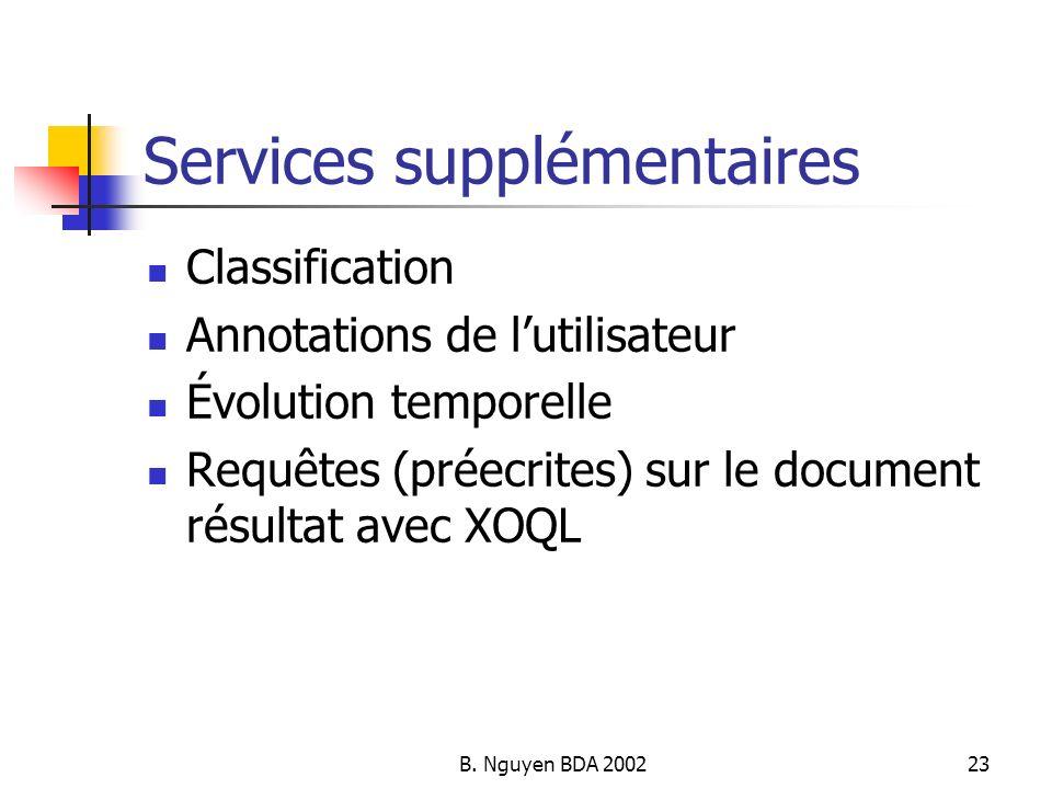 B. Nguyen BDA 200223 Services supplémentaires Classification Annotations de lutilisateur Évolution temporelle Requêtes (préecrites) sur le document ré
