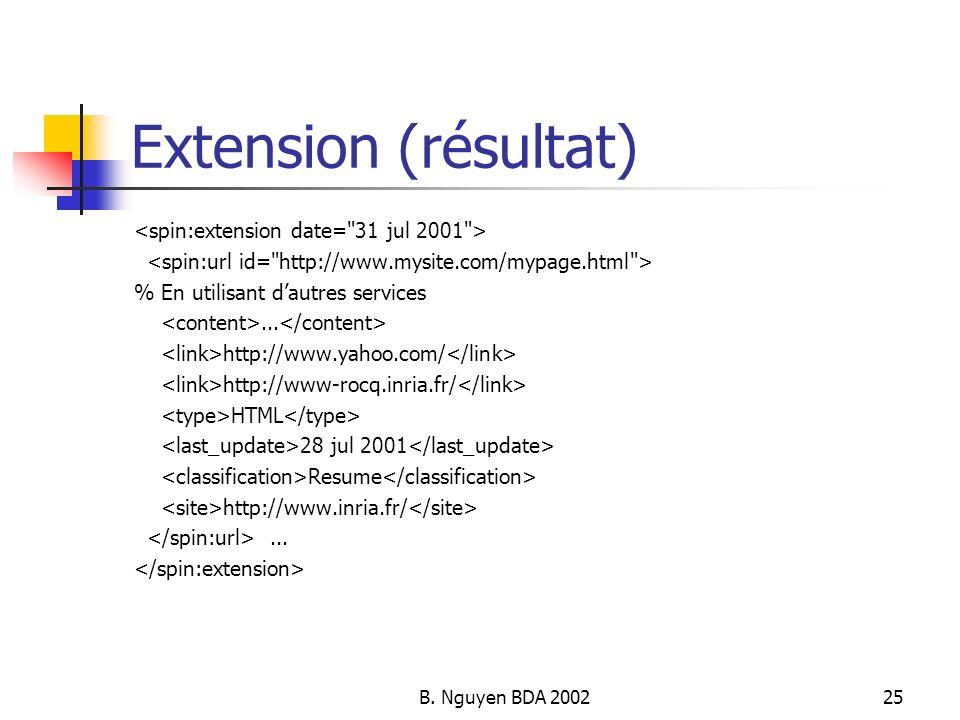 B. Nguyen BDA 200225 Extension (résultat) % En utilisant dautres services... http://www.yahoo.com/ http://www-rocq.inria.fr/ HTML 28 jul 2001 Resume h