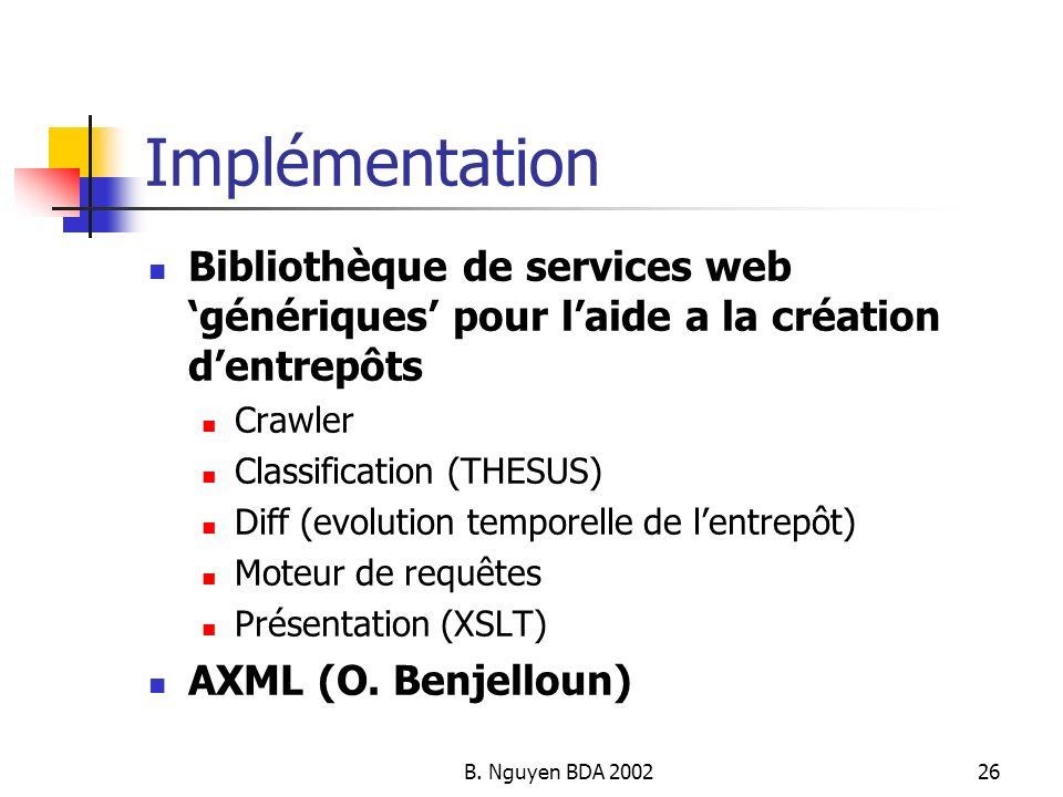 B. Nguyen BDA 200226 Implémentation Bibliothèque de services web génériques pour laide a la création dentrepôts Crawler Classification (THESUS) Diff (