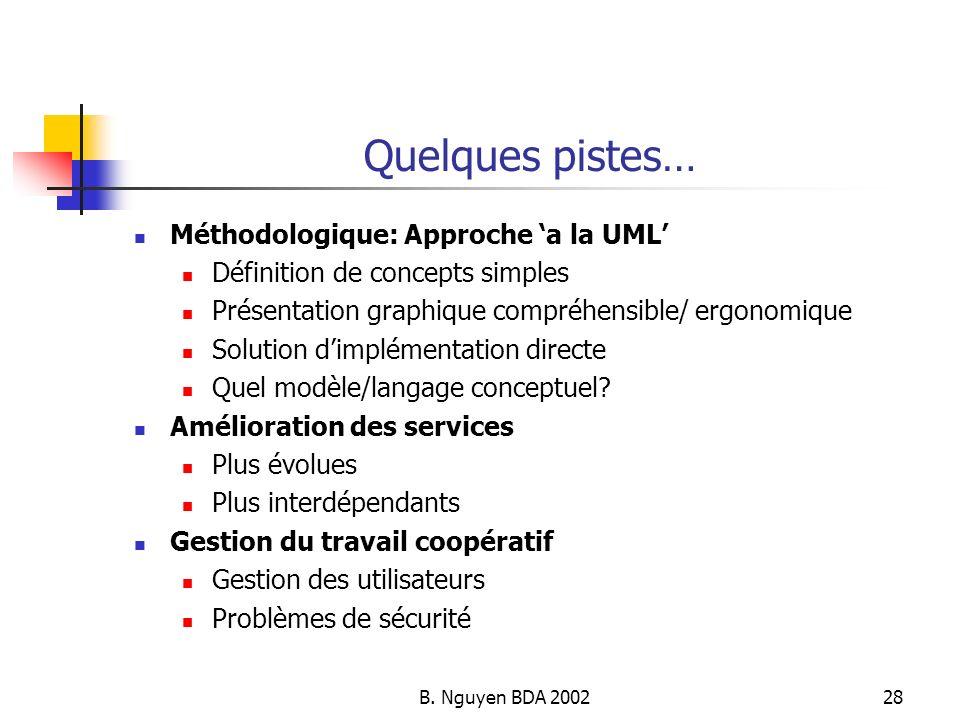 B. Nguyen BDA 200228 Quelques pistes… Méthodologique: Approche a la UML Définition de concepts simples Présentation graphique compréhensible/ ergonomi