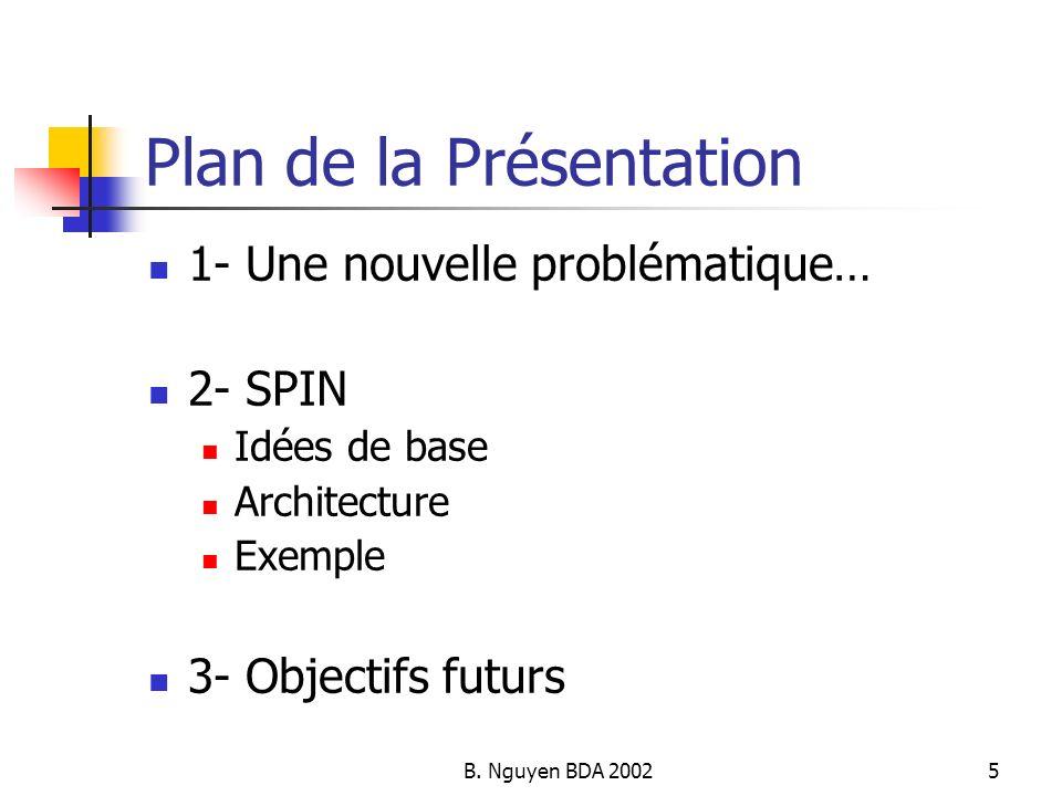 B. Nguyen BDA 20025 Plan de la Présentation 1- Une nouvelle problématique… 2- SPIN Idées de base Architecture Exemple 3- Objectifs futurs