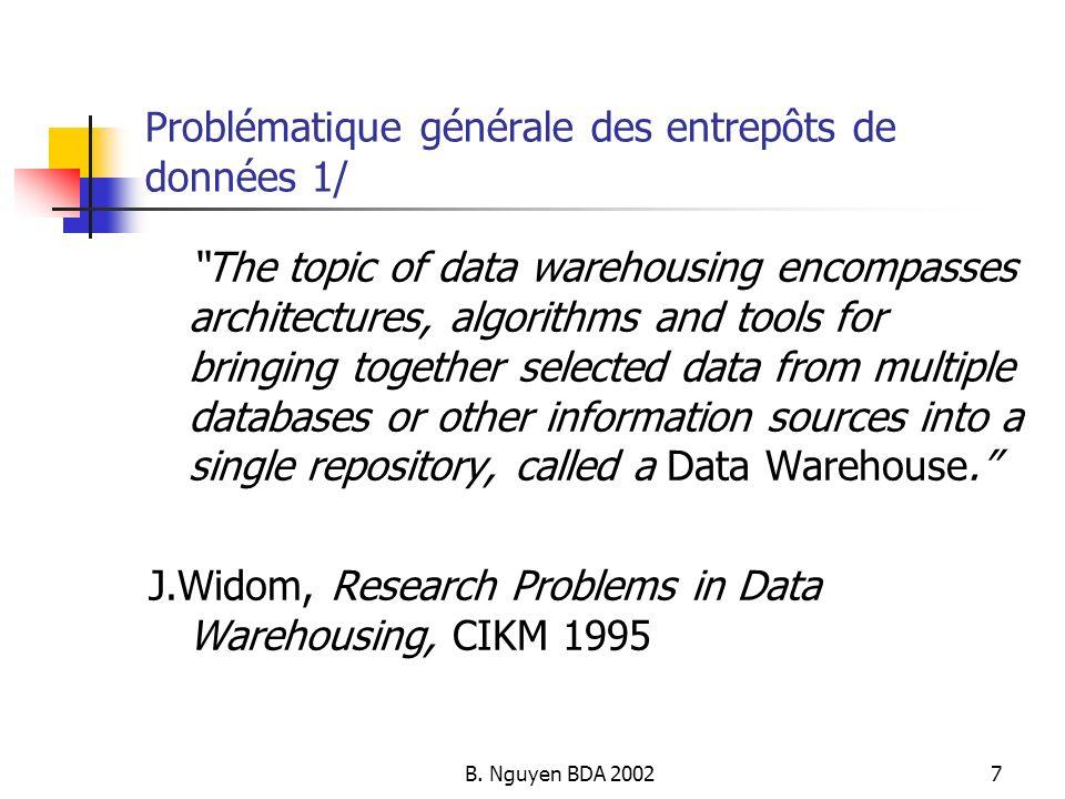 B. Nguyen BDA 20027 Problématique générale des entrepôts de données 1/ The topic of data warehousing encompasses architectures, algorithms and tools f