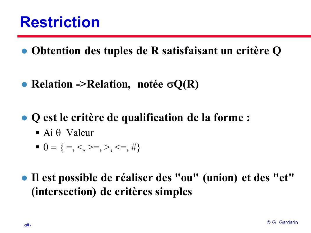 19 G. Gardarin Restriction l Obtention des tuples de R satisfaisant un critère Q Relation ->Relation, notée Q(R) l Q est le critère de qualification d