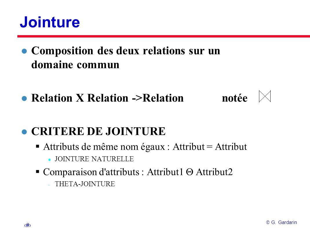 21 G. Gardarin Jointure l Composition des deux relations sur un domaine commun l Relation X Relation ->Relation notée l CRITERE DE JOINTURE Attributs