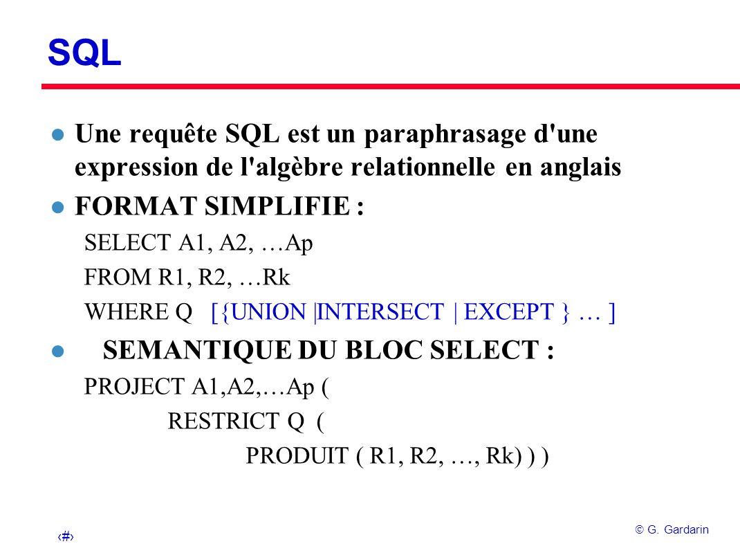 24 G. Gardarin SQL l Une requête SQL est un paraphrasage d'une expression de l'algèbre relationnelle en anglais l FORMAT SIMPLIFIE : SELECT A1, A2, …A
