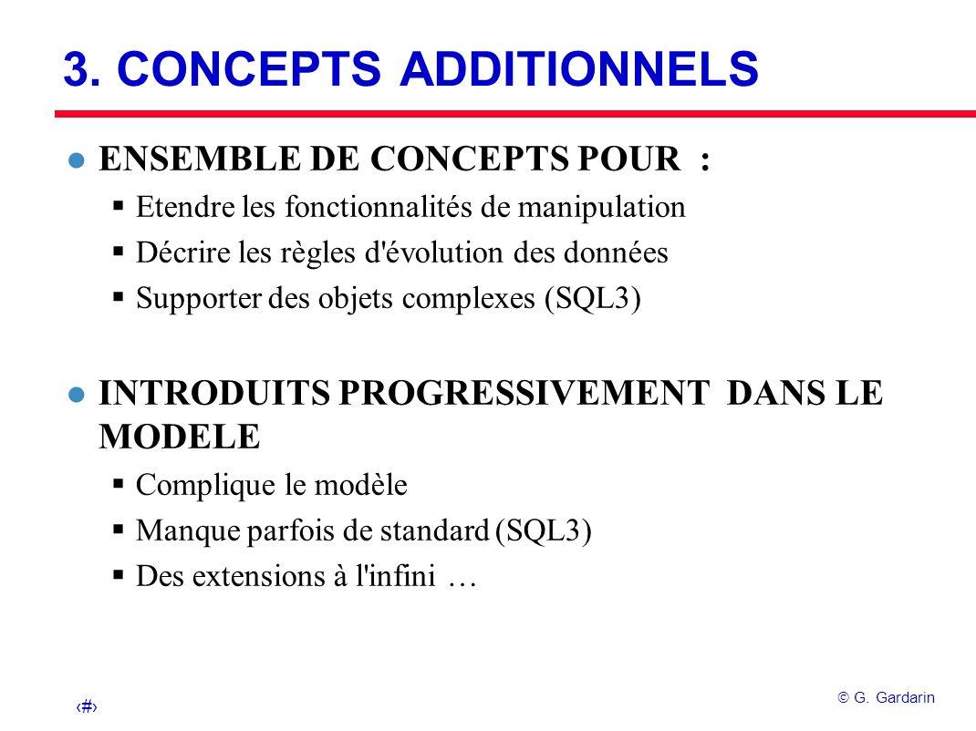 25 G. Gardarin 3. CONCEPTS ADDITIONNELS l ENSEMBLE DE CONCEPTS POUR : Etendre les fonctionnalités de manipulation Décrire les règles d'évolution des d
