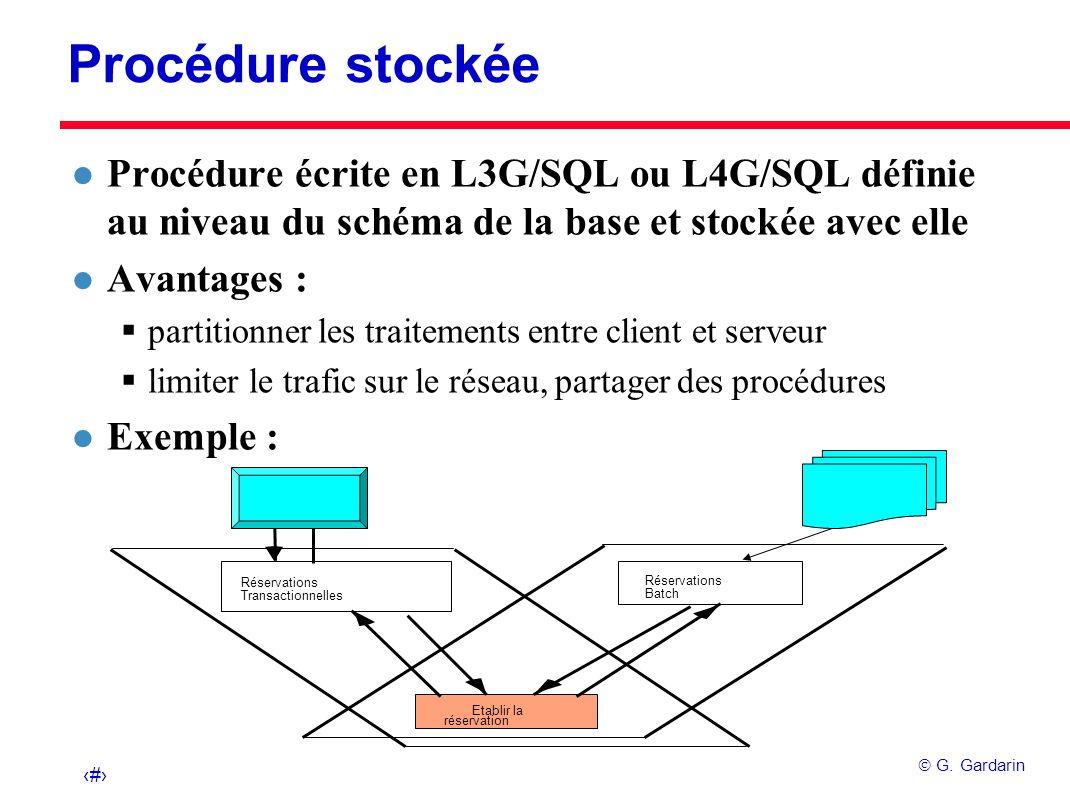 29 G. Gardarin Réservations Transactionnelles Réservations Batch Etablir la réservation Procédure stockée l Procédure écrite en L3G/SQL ou L4G/SQL déf