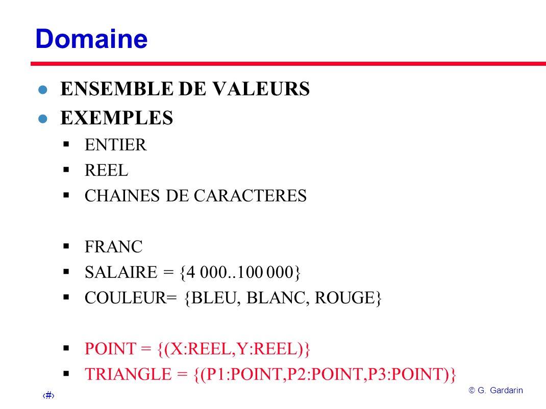 3 G. Gardarin Domaine l ENSEMBLE DE VALEURS l EXEMPLES ENTIER REEL CHAINES DE CARACTERES FRANC SALAIRE = {4 000..100 000} COULEUR= {BLEU, BLANC, ROUGE