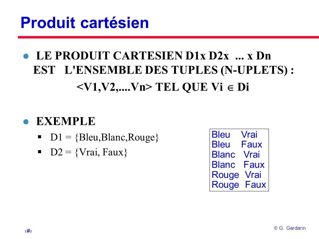 4 G. Gardarin Produit cartésien Bleu Vrai Bleu Faux Blanc Vrai Blanc Faux Rouge Vrai Rouge Faux l LE PRODUIT CARTESIEN D1x D2x... x Dn EST L'ENSEMBLE