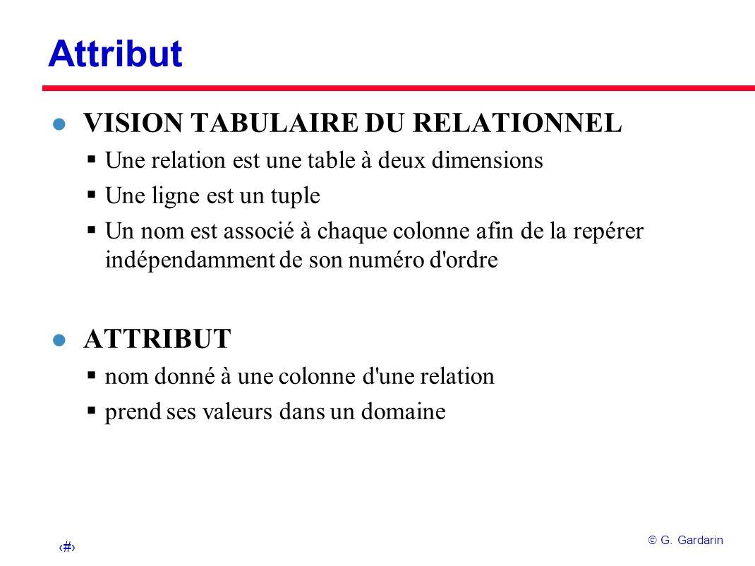 6 G. Gardarin Attribut l VISION TABULAIRE DU RELATIONNEL Une relation est une table à deux dimensions Une ligne est un tuple Un nom est associé à chaq