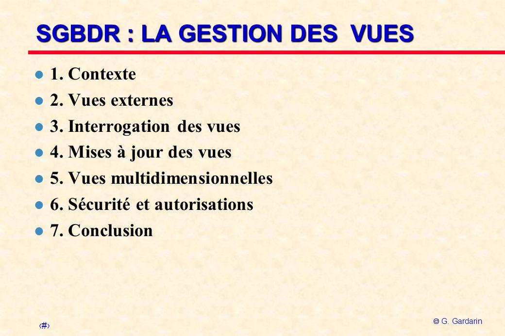 1 G.Gardarin SGBDR : LA GESTION DES VUES l 1. Contexte l 2.