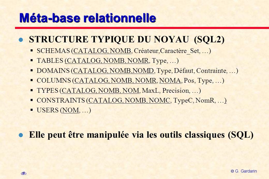 4 G. Gardarin Méta-base relationnelle l STRUCTURE TYPIQUE DU NOYAU (SQL2) SCHEMAS (CATALOG, NOMB, Créateur,Caractère_Set, …) TABLES (CATALOG, NOMB, NO
