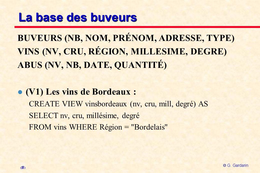 8 G. Gardarin La base des buveurs BUVEURS (NB, NOM, PRÉNOM, ADRESSE, TYPE) VINS (NV, CRU, RÉGION, MILLESIME, DEGRE) ABUS (NV, NB, DATE, QUANTITÉ) l (V