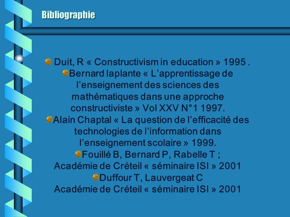 Bibliographie Duit, R « Constructivism in education » 1995. Bernard laplante « Lapprentissage de lenseignement des sciences des mathématiques dans une