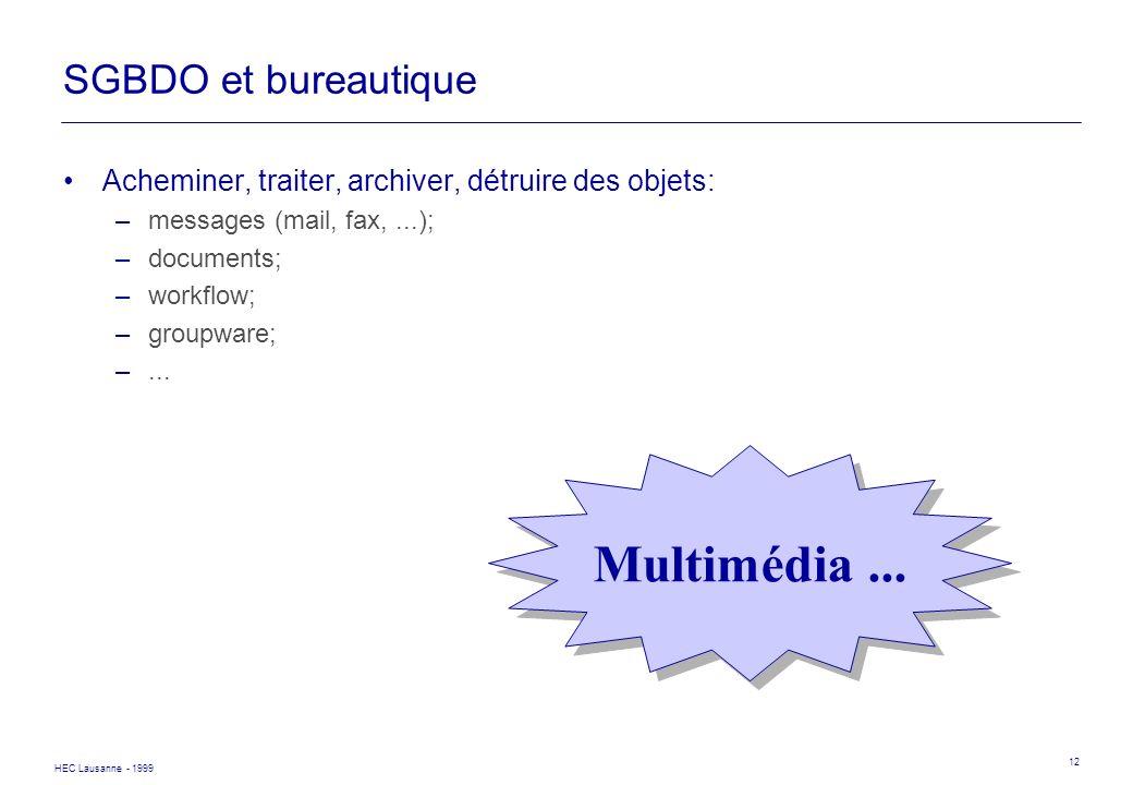 HEC Lausanne - 1999 12 SGBDO et bureautique Acheminer, traiter, archiver, détruire des objets: –messages (mail, fax,...); –documents; –workflow; –grou