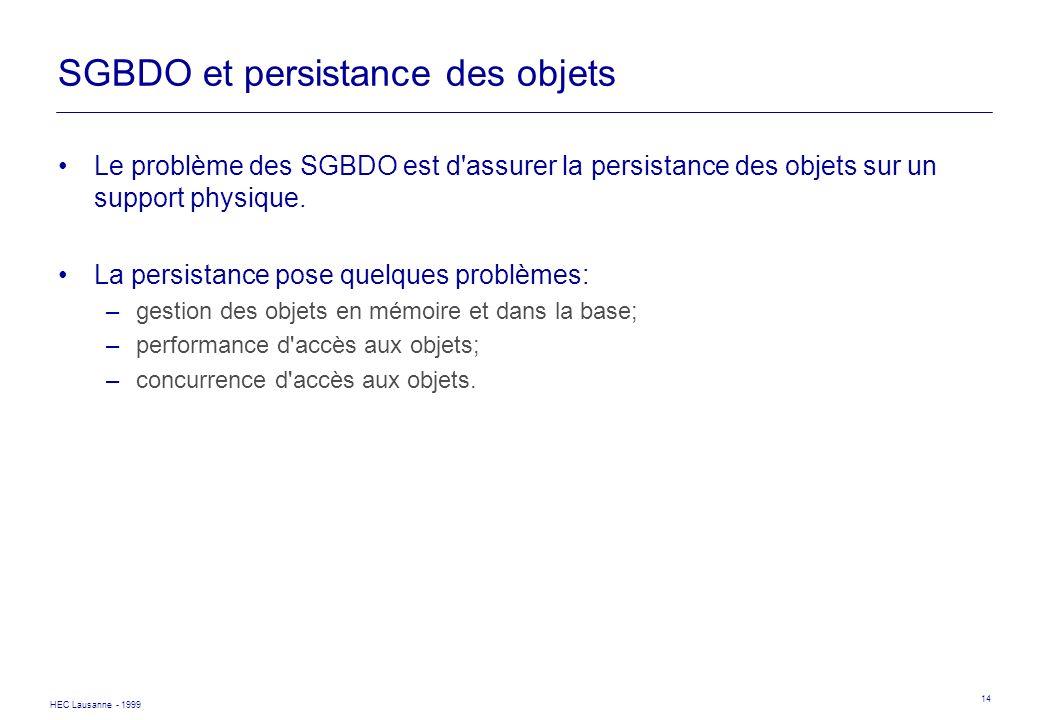 HEC Lausanne - 1999 14 SGBDO et persistance des objets Le problème des SGBDO est d'assurer la persistance des objets sur un support physique. La persi