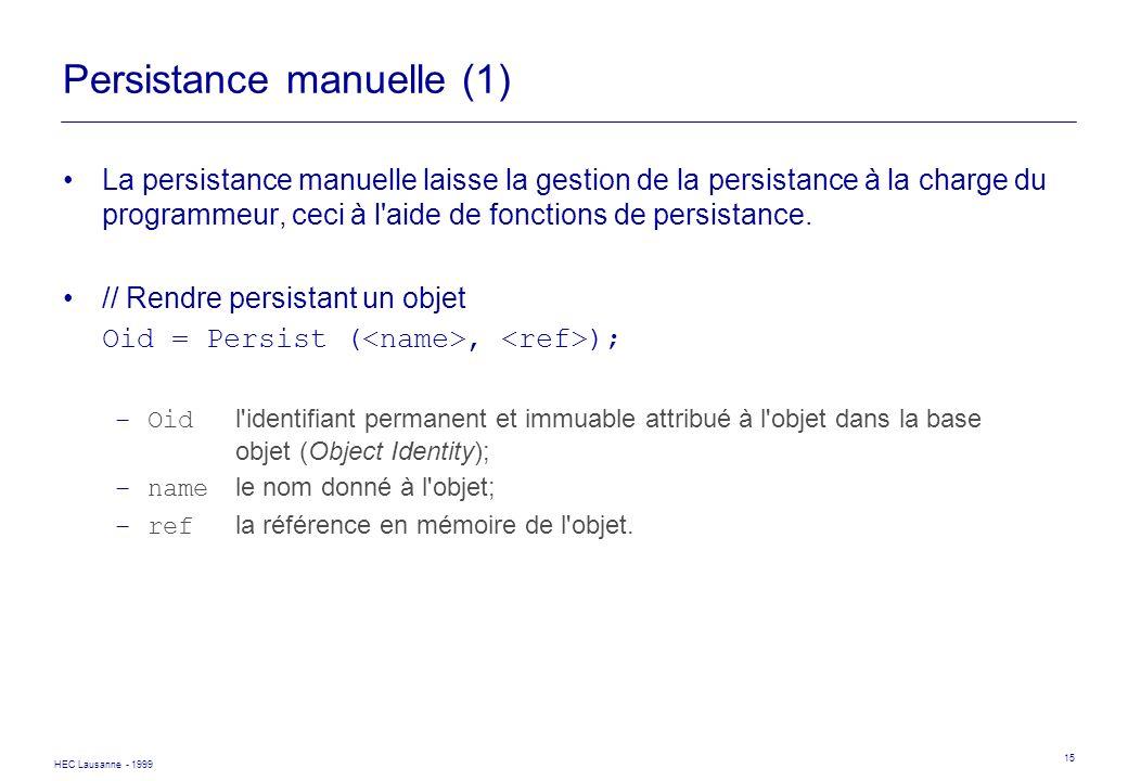 HEC Lausanne - 1999 15 Persistance manuelle (1) La persistance manuelle laisse la gestion de la persistance à la charge du programmeur, ceci à l'aide