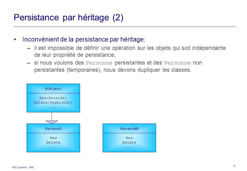 HEC Lausanne - 1999 19 Persistance par héritage (2) Inconvénient de la persistance par héritage: –il est impossible de définir une opération sur les o