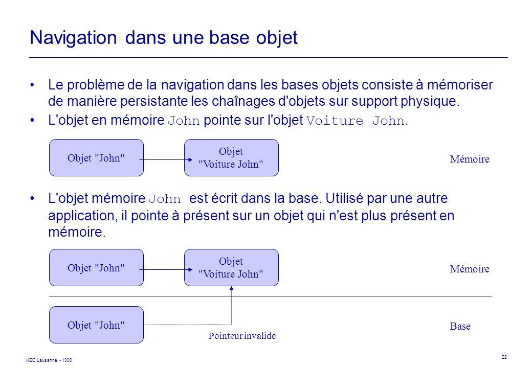 HEC Lausanne - 1999 22 Navigation dans une base objet Le problème de la navigation dans les bases objets consiste à mémoriser de manière persistante l