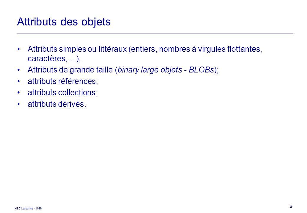 HEC Lausanne - 1999 25 Attributs des objets Attributs simples ou littéraux (entiers, nombres à virgules flottantes, caractères,...); Attributs de gran