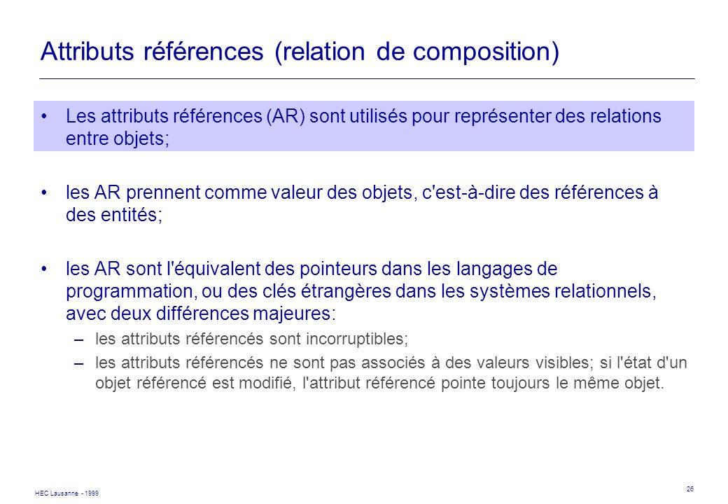 HEC Lausanne - 1999 26 Attributs références (relation de composition) Les attributs références (AR) sont utilisés pour représenter des relations entre